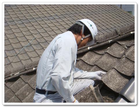 屋根の点検中